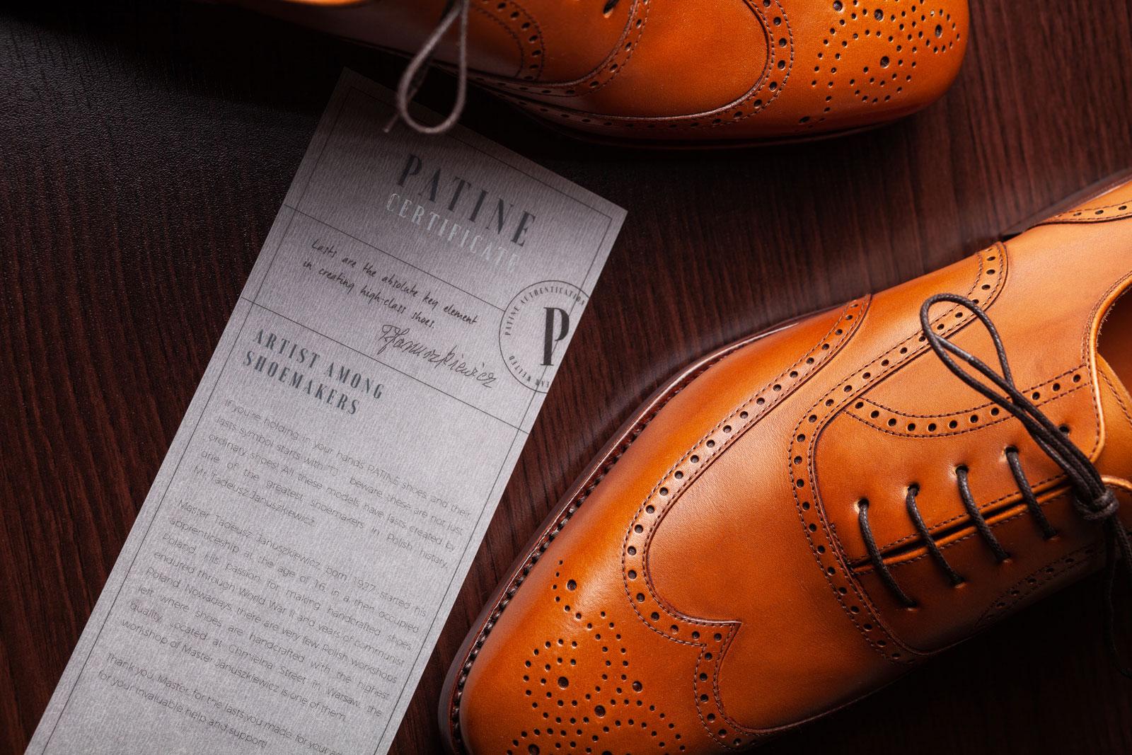 Certyfikat T. Januszkiewicz Patine Shoes