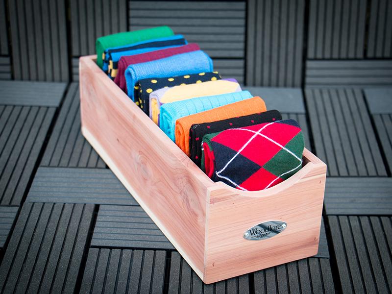 Patine Socks and Cedar Box