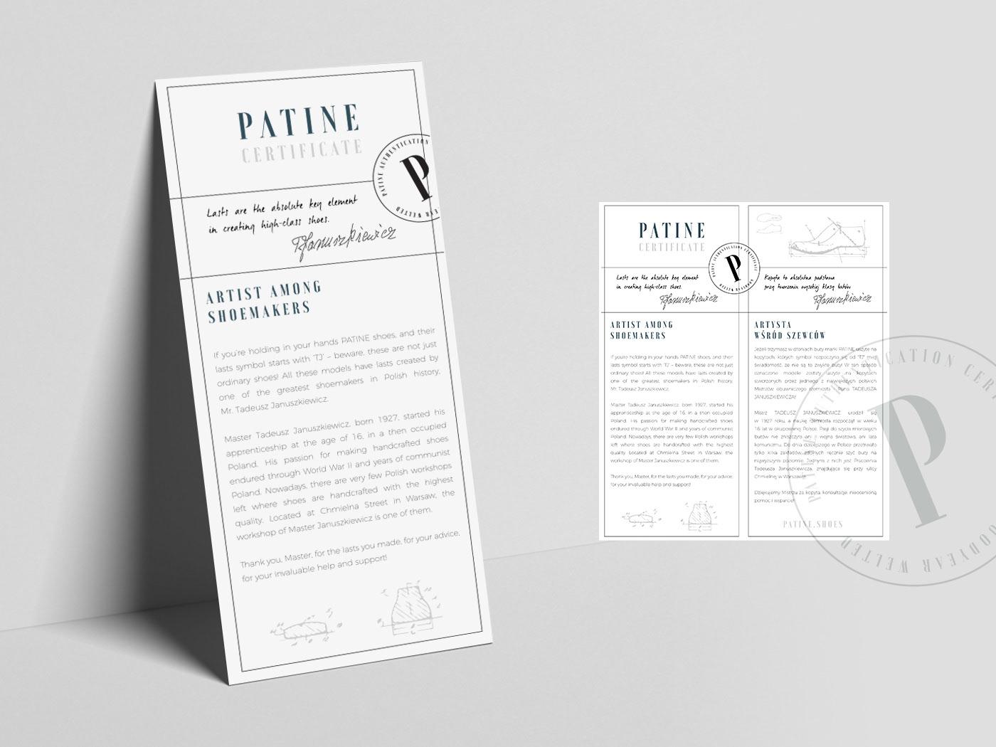 TJ Last Patine Shoes Certicicate