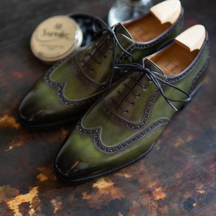 green shoes patina