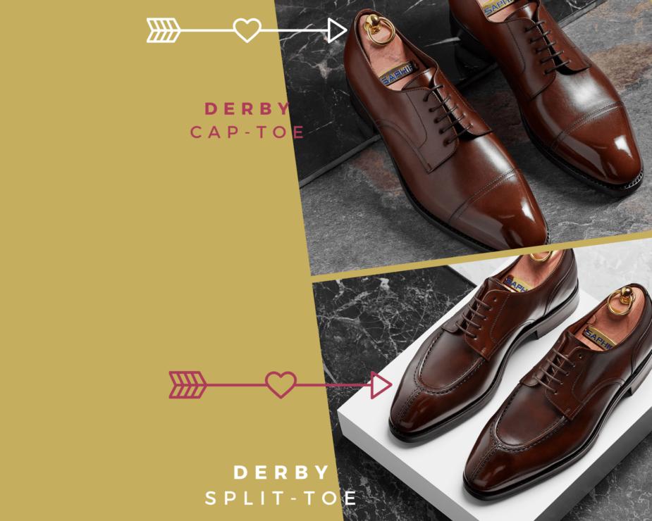 Buty derby w klasycznej wersji cap-toe i obuwie derby split-toe zwane norvegian stictch z przeszyciem na nosku.