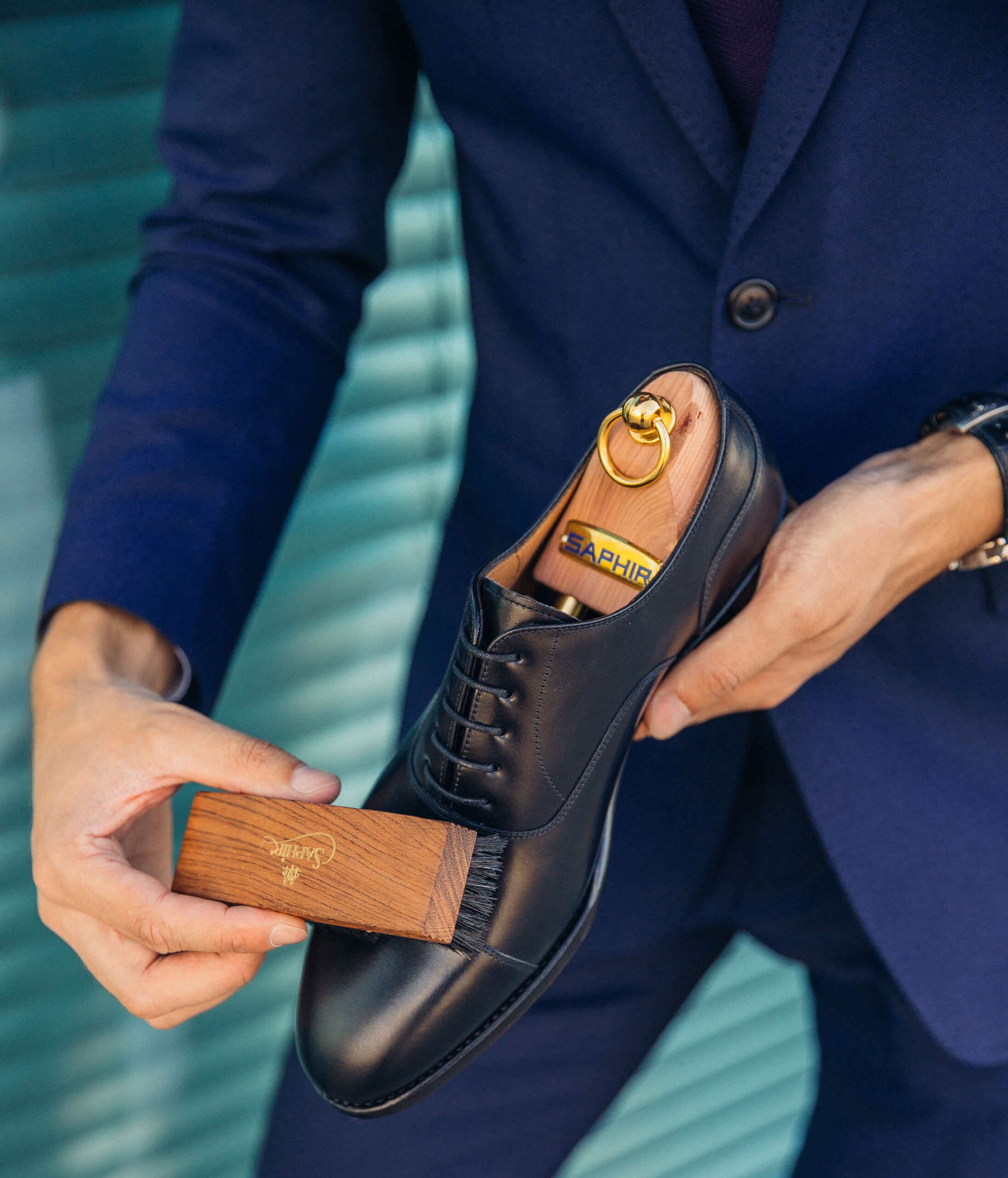 Klasyczne formalne czarne buty oksfordy cap-toe patine 77001 oxford shoes