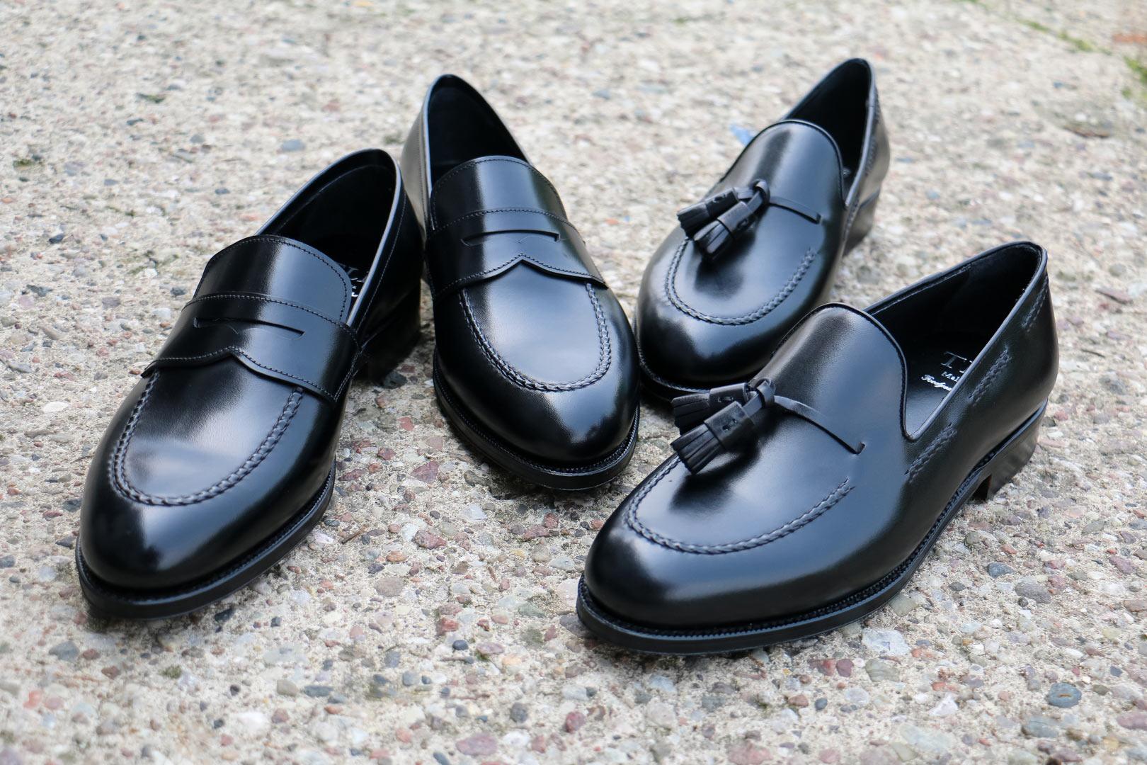 Loafersy z czarnej skóry. penny i tassel, mokasyny obuwie męskie.