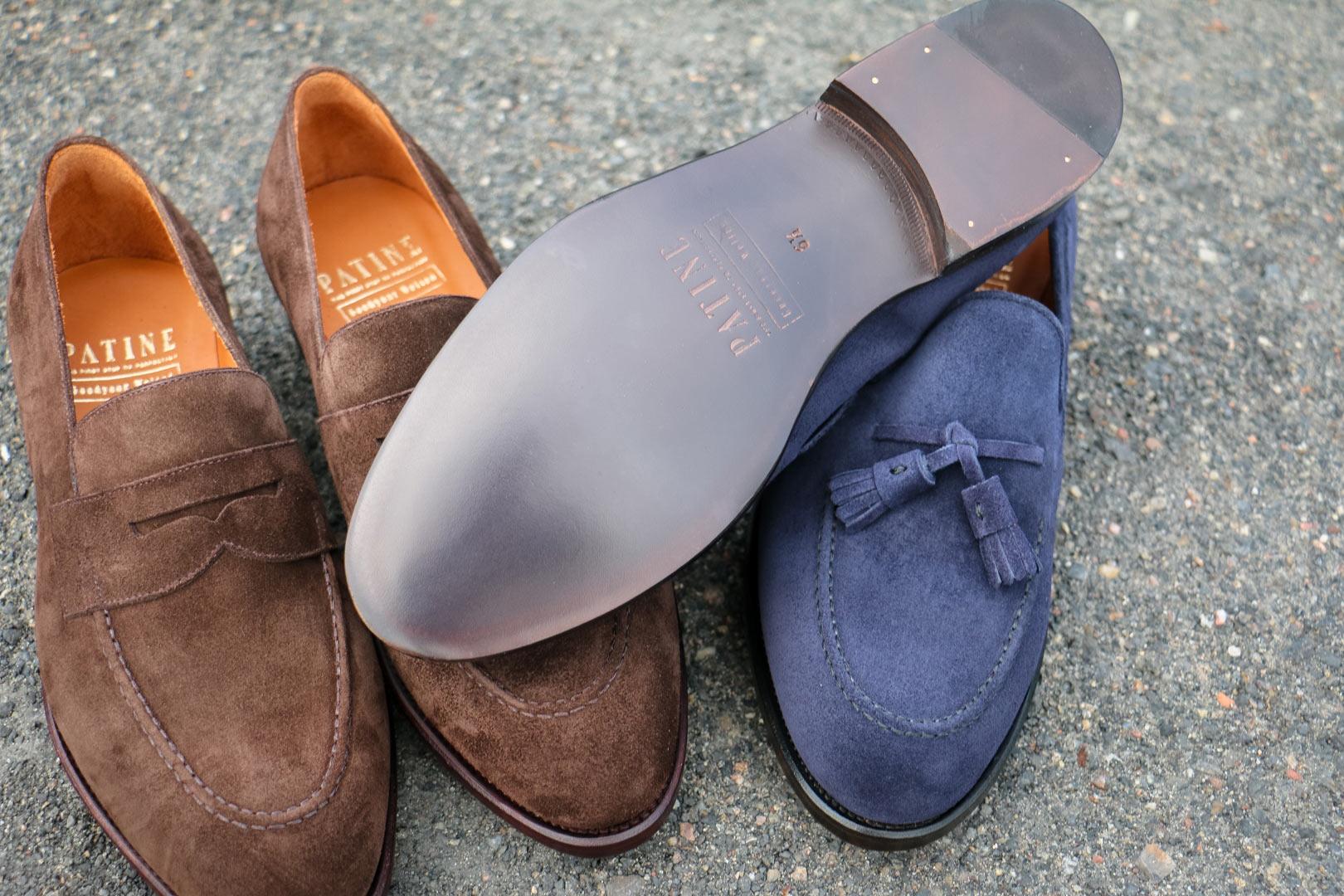 Podeszwy skórzane w męskich loafersach, mokasynach