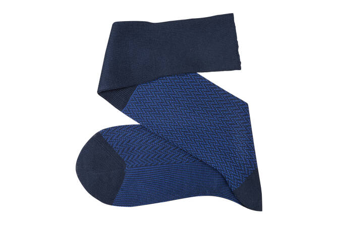 VICCEL Knee Socks Herringbone Navy Blue / Royal Blue