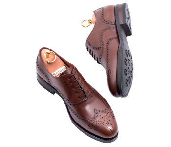PATINE Full Brogues 77020V H Brown - brązowe brogsy męskie