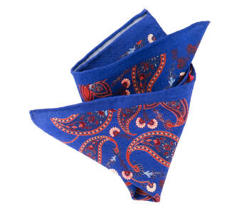 Pocket Square Wool PATHS1611_2 Cobalt
