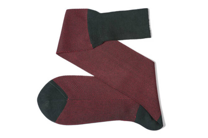 VICCEL Knee Socks Birdseye Dark Green / Red