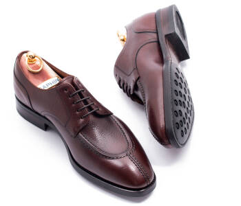 YANKO Split Toe Derby 980Y F Scotch Grain Leather Brown - brązowe angielki męskie
