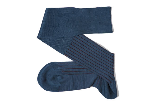 VICCEL Knee Socks Shadow Stripe Light Navy Blue Burgundy