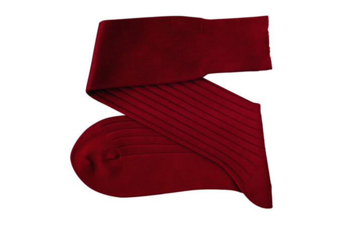 VICCEL Knee Socks Solid Claret Red Cotton