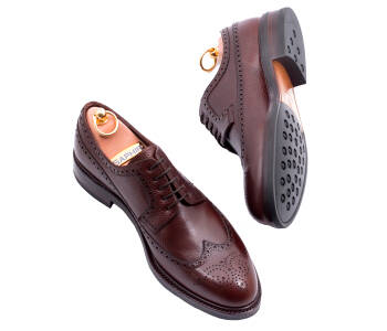 TLB MALLORCA Derby Longwing Brogue NOLAN 589STS F Brown Scotch Grain Leather - brązowe brogsy