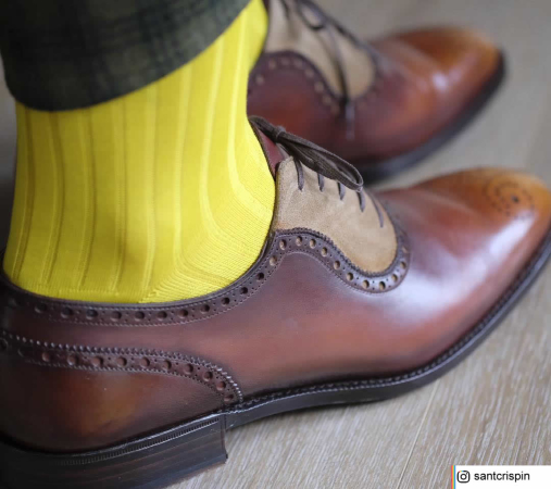 VICCEL Socks Solid Canary Yellow Cotton