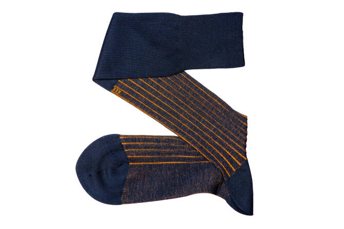 VICCEL Knee Socks Shadow Stripe Navy Blue / Mustard