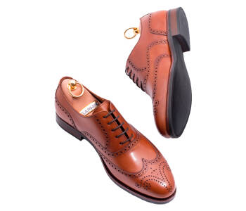 PATINE Full Brogues 77020C H Light Brown - jasno brązowe brogsy męskie