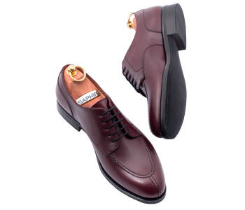 PATINE Derby Split Toe 77039C F Burgundy - bordowe derby męskie