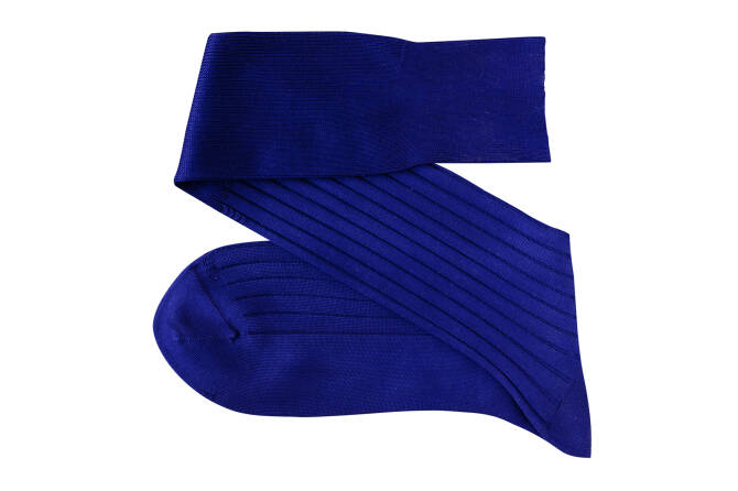 VICCEL Knee Socks Solid Egyptian Blue Cotton
