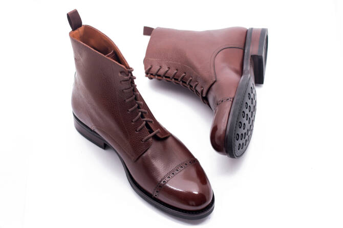 YANKO Boots 525Y G Scotch Grain Leather Brown - brązowe trzewiki męskie