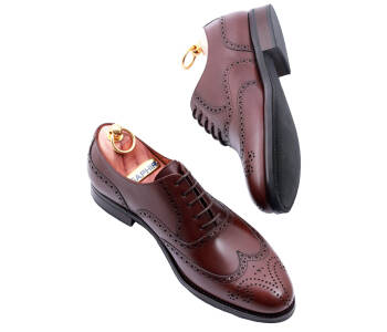 PATINE Full Brogues 77020C G Dark Brown - brązowe brogsy męskie