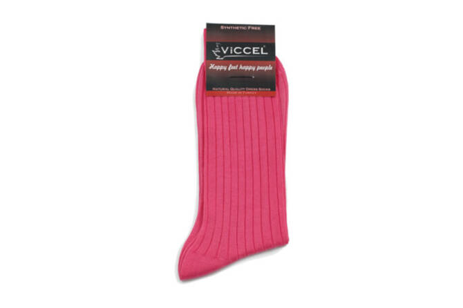 VICCEL Socks Solid Pink Cotton