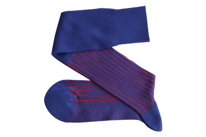 VICCEL Knee Socks Shadow Royal Blue / Red