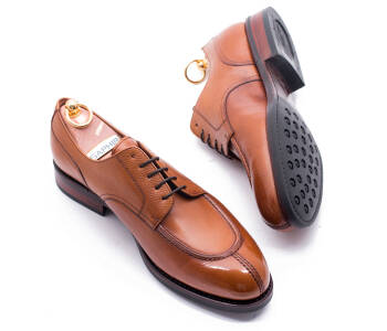 YANKO Split Toe Derby 539Y G Scotch Grain Leather Light Brown - jasno brązowe angielki męskie