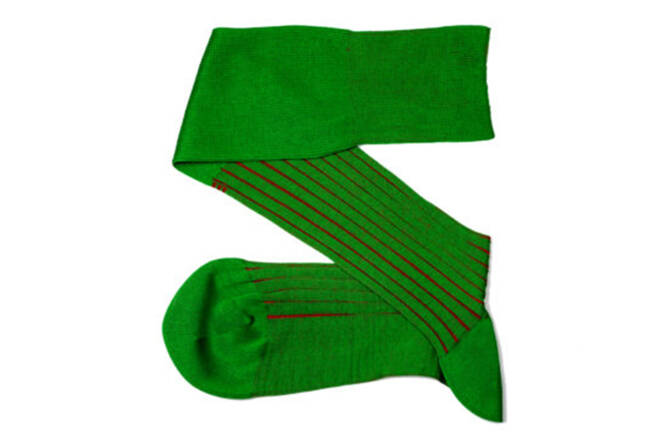 VICCEL Knee Socks Shadow Stripe Pistacio Green / Red