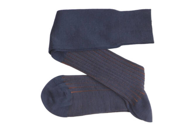 VICCEL Knee Socks Shadow Dark Navy Blue / Brown