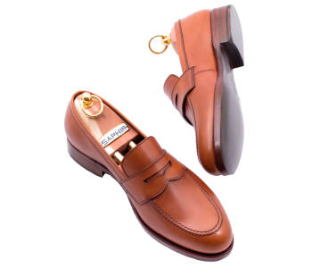 PATINE Penny Loafers 77040 F Light Brown - jasno brązowe loafersy męskie