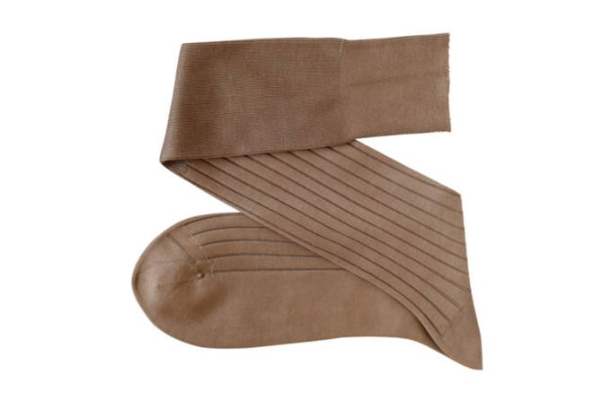 VICCEL Knee Socks Solid Tan Cotton
