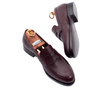 PATINE Penny Loafers 77040 F Burgundy - bordowe loafersy męskie