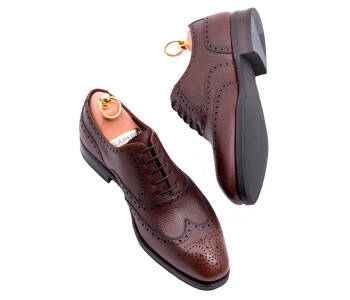 TLB MALLORCA Full Brogues Wing Tip MORRISON 527C G Brown Scotch Grain Leather - brązowe brogsy męskie